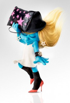 Smurfette Models Designer Looks for Harper's Bazaar