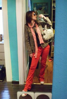 Show Us Your Red: Candy-Striper Scarf and Jeans