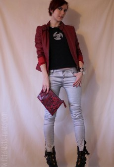 Show Us Your Red: Leather Jacket & Clutch