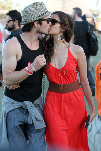 Nina Dobrev and Ian Somerhalder at 2012 Coachella