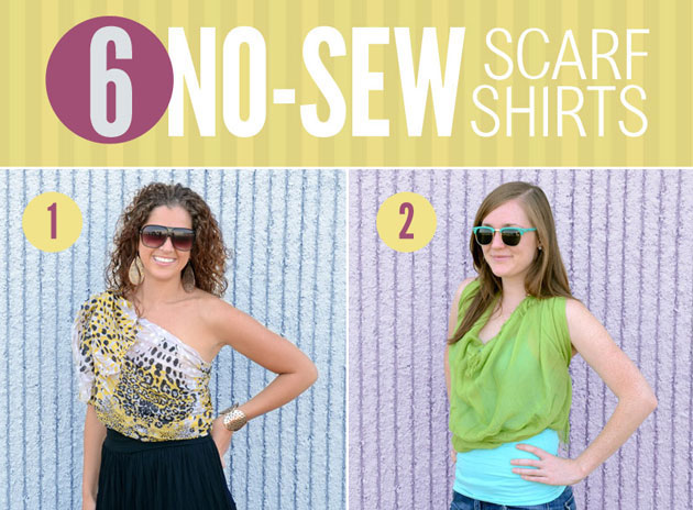 No-sew scarf shirts: Side-Shoulder Bow and Cowl-Neck Scarf Top