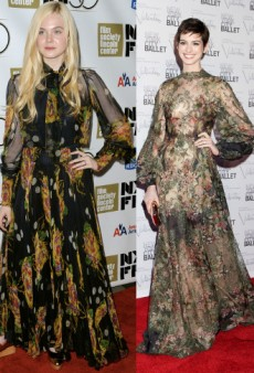 Seeing Double: Elle Fanning and Anne Hathaway in Flowing Florals