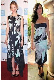 Seeing Double: Katy Perry and January Jones are Birds of a Feather in Wes Gordon and More