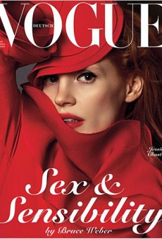Jessica Chastain (and Lots of Red Gucci Fabric) Covers Vogue Germany's January Issue (Forum Buzz)