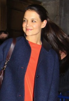 Look of the Day: Katie Holmes Brightens Up Her Balenciaga Coat with an Orange Dress