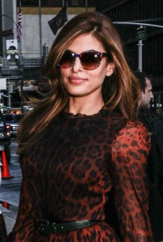 Eva Mendes Late Show with David Letterman New York City cropped