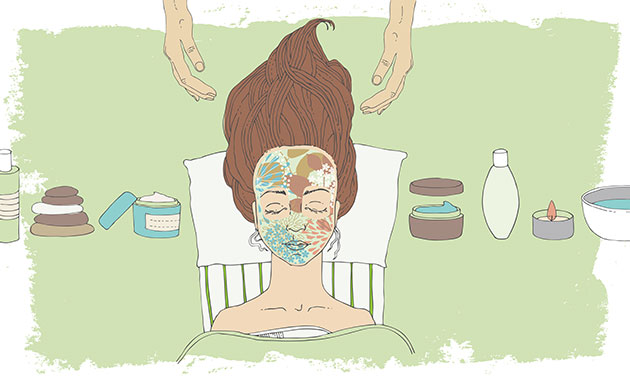 cartoon image of a girl at a spa getting a facial