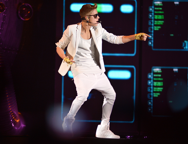 Justin Bieber performing live in concert while wearing drop crotch pants