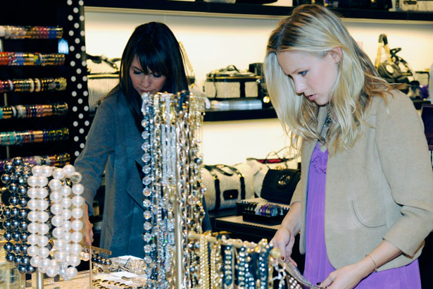 Actress Kristen Bell and stylist Nicole Chavez shop at Henri Bendel