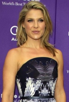 Ali Larter's Printed Monique Lhuillier Spring 2013 Strapless Dress