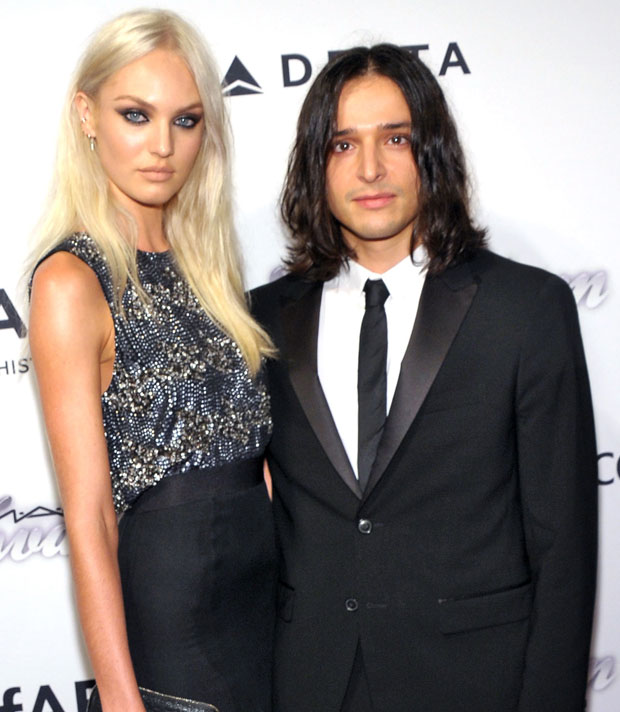 Candice Swanepoel (L) and designer Olivier Theyskens attends the 4th Annual amfAR Inspiration Gala New York at The Plaza Hotel on June 13, 2013 in New York City. (Photo by Michael Loccisano/Getty Images)