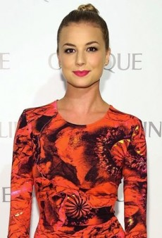 Emily VanCamp Makes a Bold Statement in Poppy-Printed Preen by Thornton Bregazzi Dita Dress