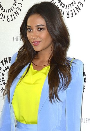 Shay Mitchell Pairs Her Periwinkle Naven Short Suit Set with a Neon Yellow Top