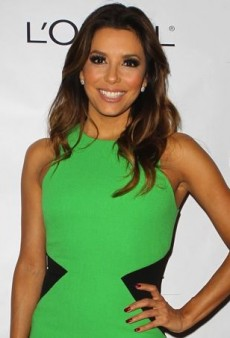 Eva Longoria's Green David Koma Contrast Side Panel Dress