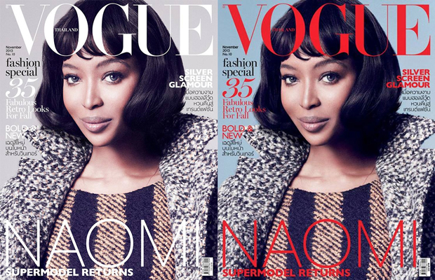 Naomi Campbell Covers, Preliminary version (left), Final version (right) / Images: FACEBOOK.COM/MARCIN-TYSZKA