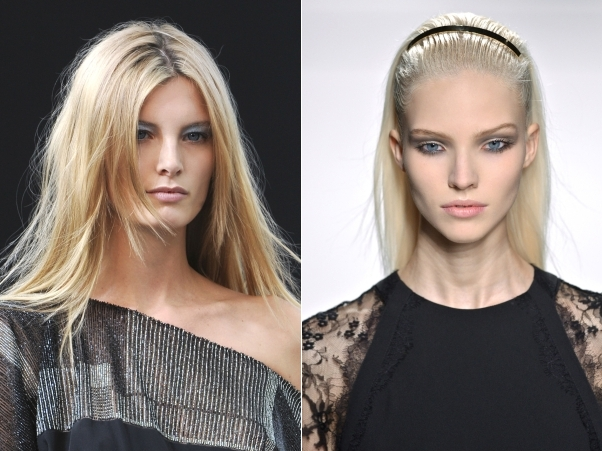 Ava Smith at Maxime Simoens Spring 2014; Sasha Luss at Elie Saab Spring 2014