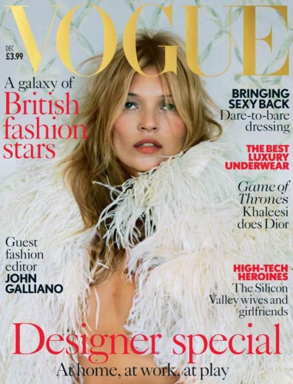 Kate Moss by Tim Walker on the cover of UK Vogue December 2013