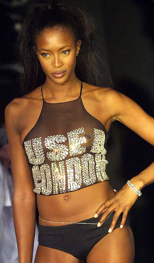 Naomi Campbell for Katharine Hamnett Spring 2004 / Image: Getty