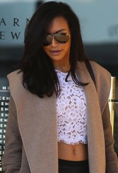 Naya Rivera Wraps Up Her Michael Kors Lace Crop Top with a Luxe Camel Coat