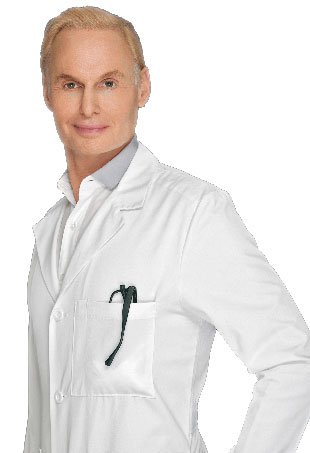 Dr. Frederic Brandt in a fitted white doctors coat