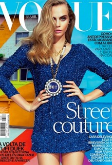 The New Jerry Hall? Cara Delevingne Wears BO.BÔ Bourgeois.Bohême for the Cover of Vogue Brazil