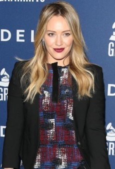 Hilary Duff Pairs Jenni Kayne's Printed Dress with a Black Helmut Lang Blazer