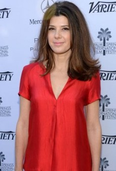 Marisa Tomei Evokes Relaxed Retro Glamour in Wes Gordon's Red Satin Spring 2013 Ensemble
