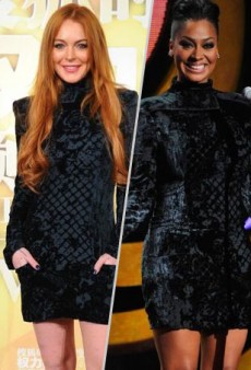 Style Showdown: Lindsay Lohan Resurrects La La Anthony's Balmain Pre-Fall 2012 Padded Shoulder Dress and More Matching Celebs