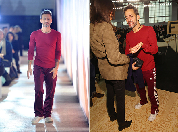 Marc Jacobs taking a bow at his Fall 2014 show 2/13 (left) / Marc Jacobs attends the MarcByMJ runway show 2/11 (right)
