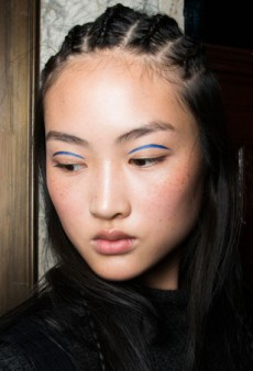 Backstage Beauty: A 'Scottish Outdoorsy' Look with Cornrows and Floating Liner at Marchesa Fall 2014