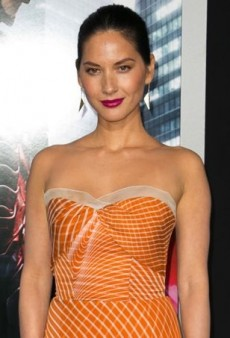 Olivia Munn's Converted Carolina Herrera Spring 2014 Orange Printed Strapless Gown