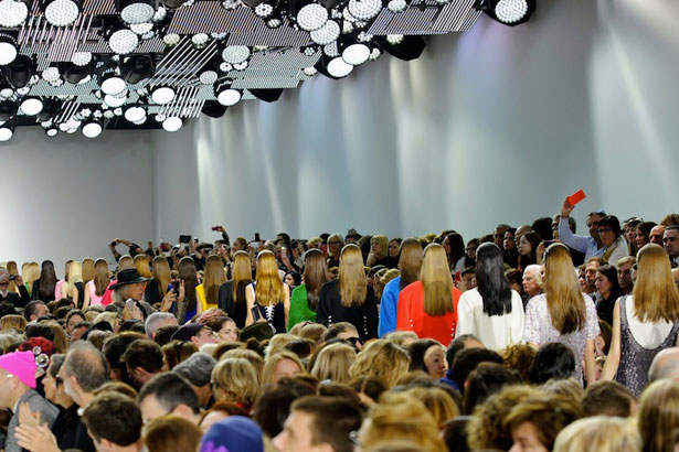Christian Dior Fall 2014 models doing the final walk