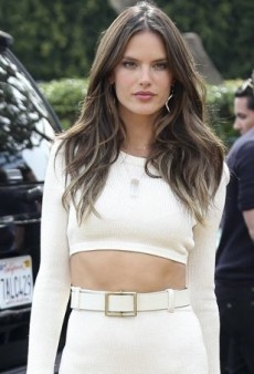 Alessandra Ambrosio Shows Some Skin in a Crisp Calvin Klein Collection Ensemble