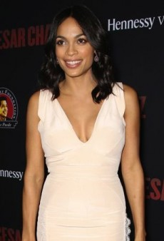 Rosario Dawson Pulls Out All the Stops for Her Premiere in a Pink Antonio Berardi Gown