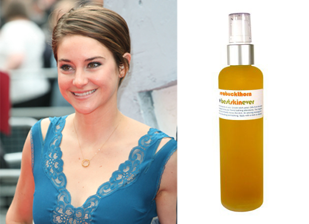 Shailene Woodley pictured next to Living Libations best skin ever skincare oil