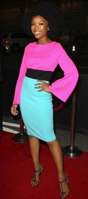 Brandy Norwood in bright Fausto Puglisi ensemble at A Haunted House 2 premiere