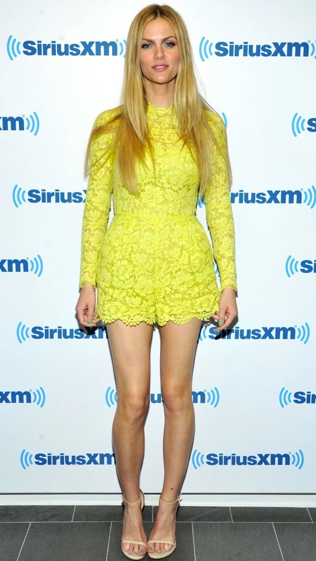 Brooklyn Decker wears neon lace Valentino romper