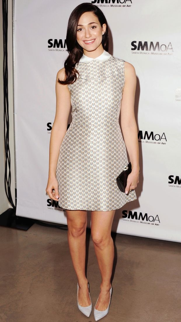 Emmy sported a charming printed Tory Burch Fran dress to an art-themed gala