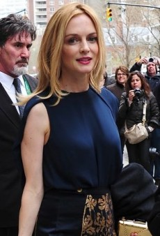 Heather Graham Blends Blues in J Brand's Cowley Top and an Embroidered Katharine Kidd Skirt