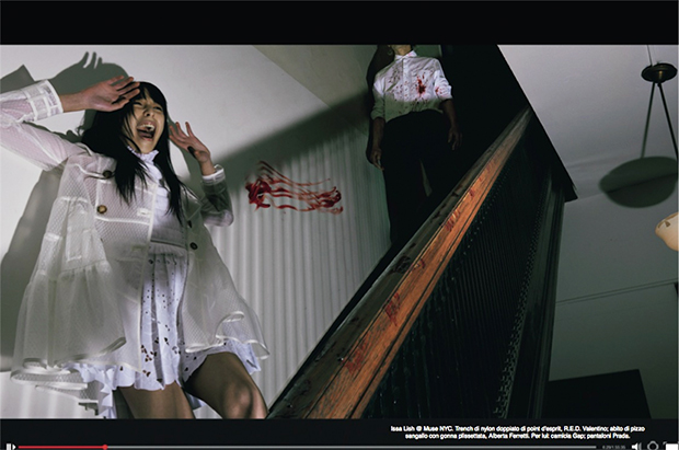 Vogue Italia April cover where Issa Lish is wearing all white on a blood stained banister with her attacker nearby