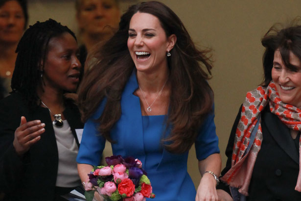 Duchess Kate blue suit with flowers