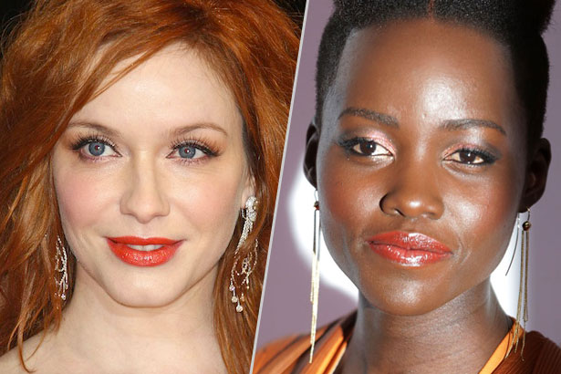 Christina Hendricks and Lupita Nyong'o wear orange lipstick