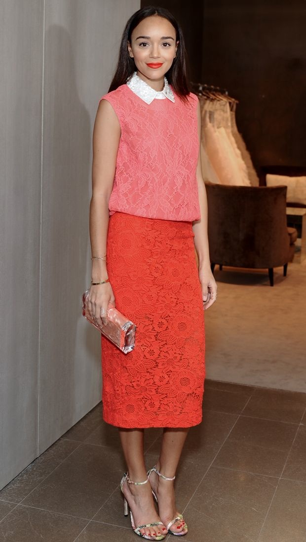 Ashley Madekwe lunches in Monique Lhuillier's Spring 2014 lacy ensemble