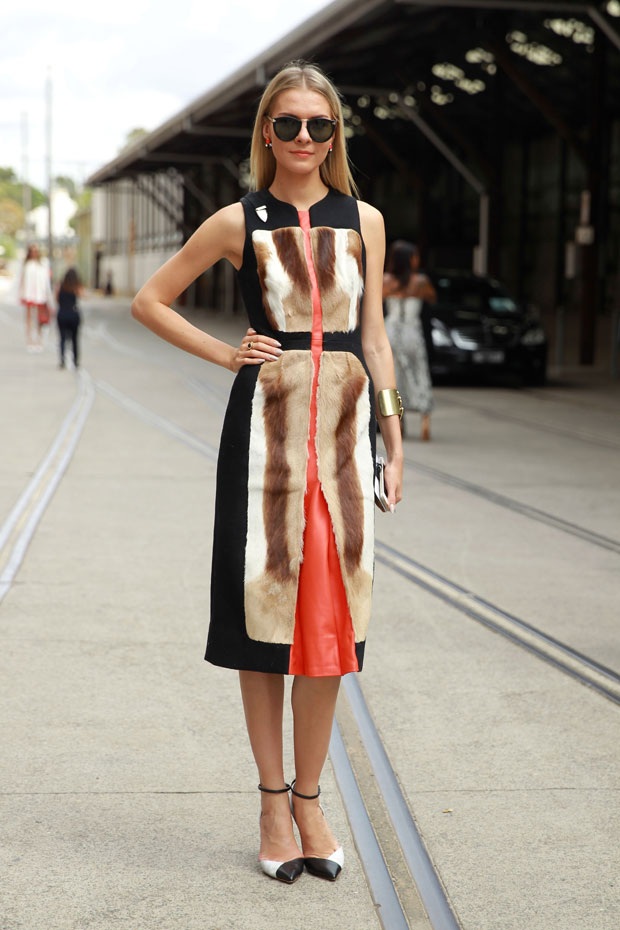 Dasha Gold, wearing an outfit by Kaylene Milner, at Mercedes-Benz Fashion Week Australia 2014
