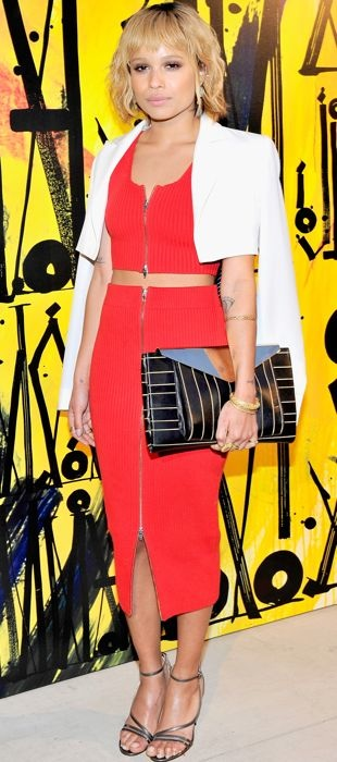Zoe outfitted in a T by Alexander Wang two-piece ribbed look