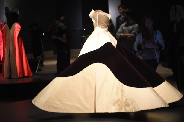 Fashion Designer Charles James: Beyond Fashion at the Metropolitan Museum of Art Costume Collection a black and white dress with a bottom shaped like a t