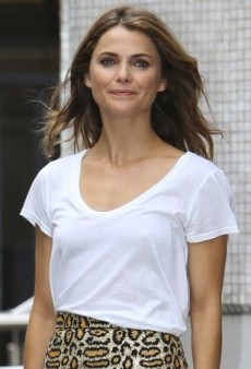 Keri Russell Tames Her Wild Saint Laurent Skirt with a Basic White T-Shirt