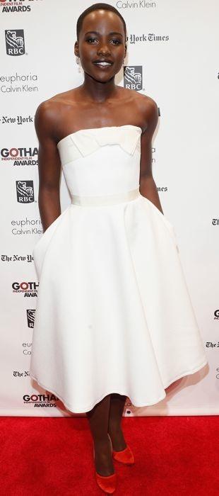 Lupita Nyong'o in a white Lanvin dress at the Gotham Awards