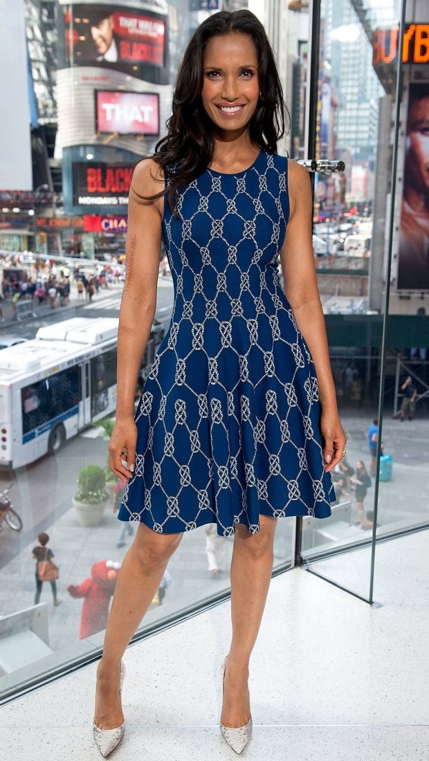 Padma Lakshmi wears a rope print dress to host Extra
