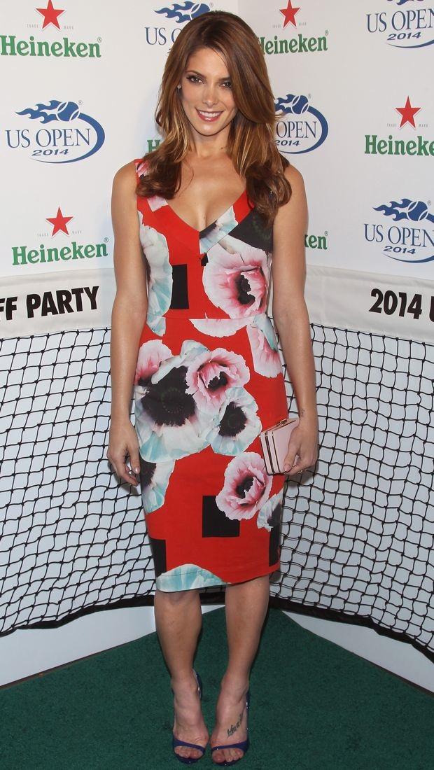 Ashley Greene wears a red Preen dress to US Open party